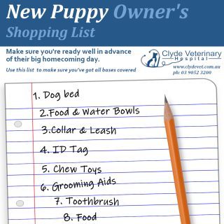 new puppy owners shopping checklist