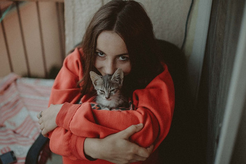 woman in red long sleeve shirt carrying silver tabby kitten vets